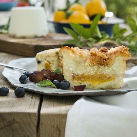 עוגת ריקוטה ואפרסקים