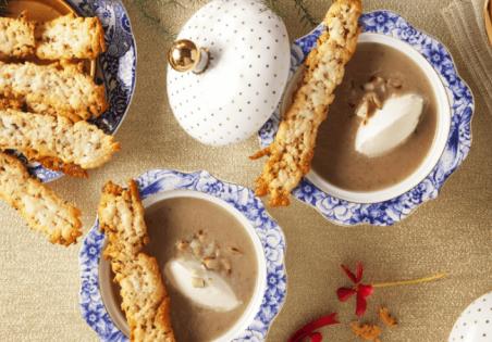 מרק ארטישוק ירושלמי, אגוזי ברזיל וטוויל פקורינו