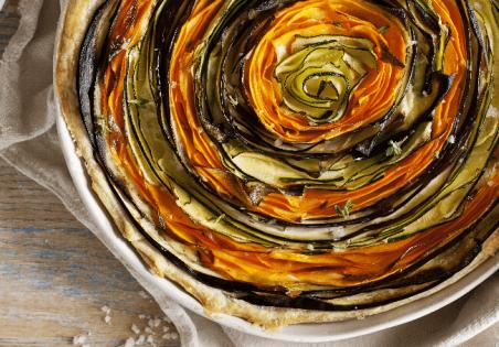 קיש ספירלה ירקות וגבינות